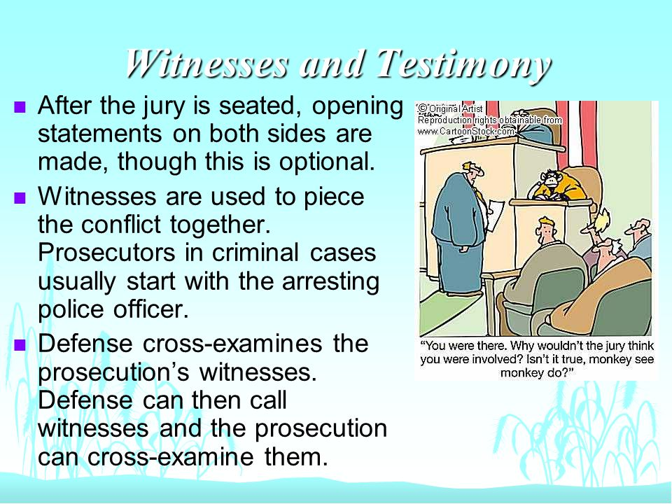 Witnesses and Testimony n After the jury is seated, opening statements on both sides are made, though this is optional.
