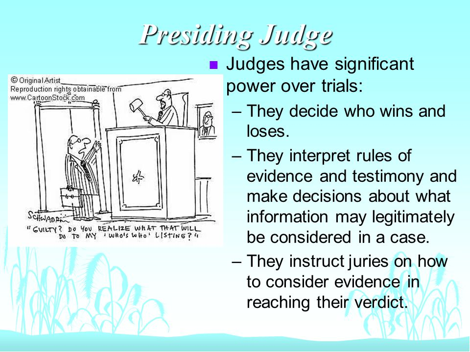 Presiding Judge n Judges have significant power over trials: –They decide who wins and loses.