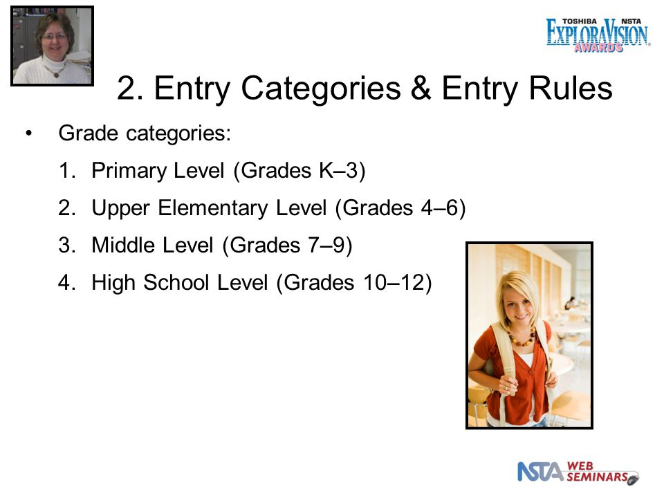 Grade categories: 1.Primary Level (Grades K–3) 2.Upper Elementary Level (Grades 4–6) 3.Middle Level (Grades 7–9) 4.High School Level (Grades 10–12) 2.