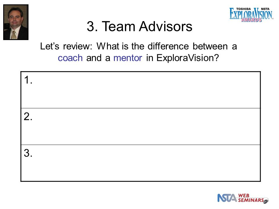 Let's review: What is the difference between a coach and a mentor in ExploraVision 1. 2. 3.