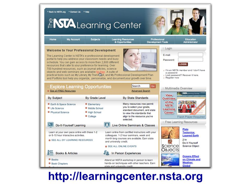 http://learningcenter.nsta.org NLC screenshot