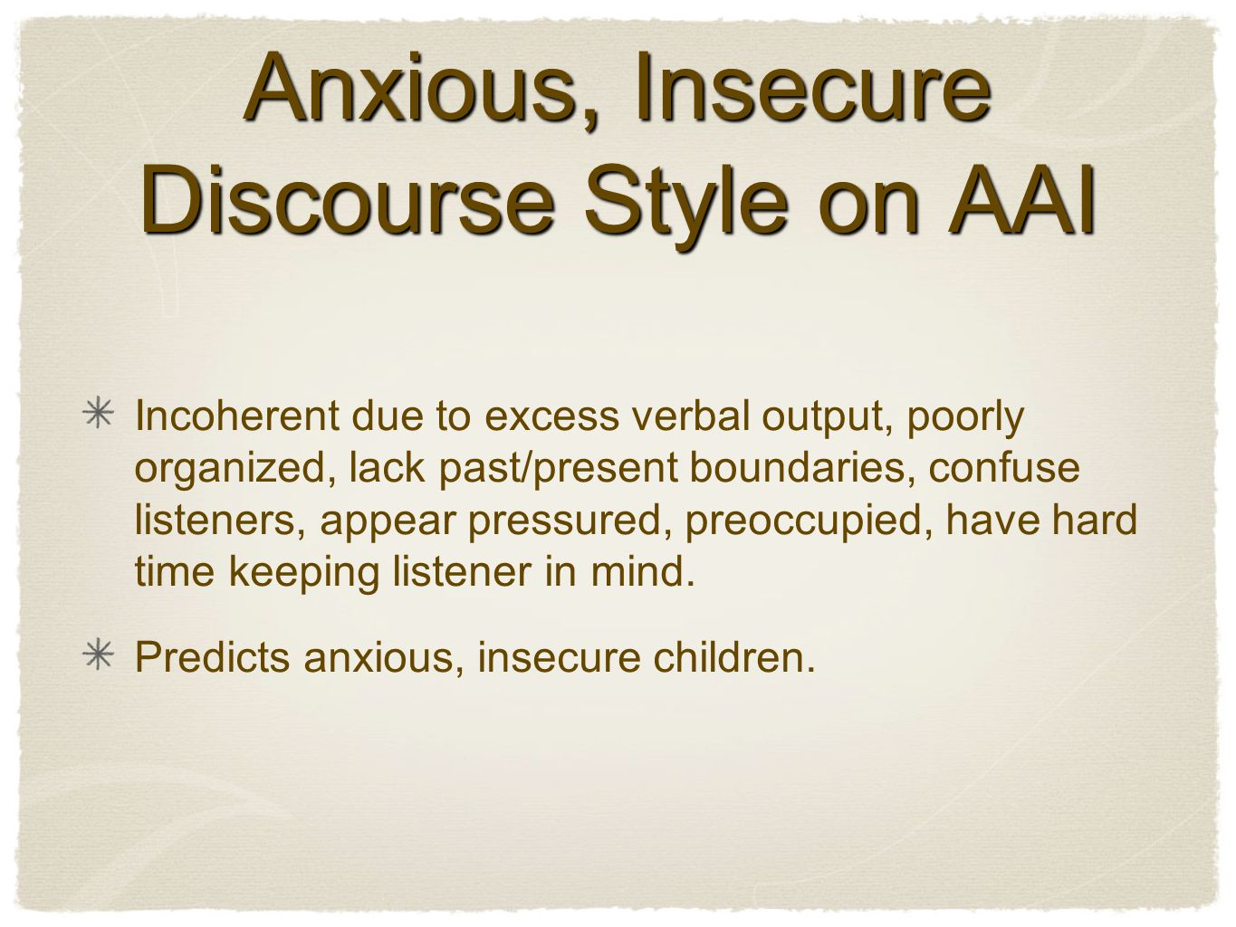 Anxious, Insecure Discourse Style on AAI Incoherent due to excess verbal output, poorly organized, lack past/present boundaries, confuse listeners, appear pressured, preoccupied, have hard time keeping listener in mind.