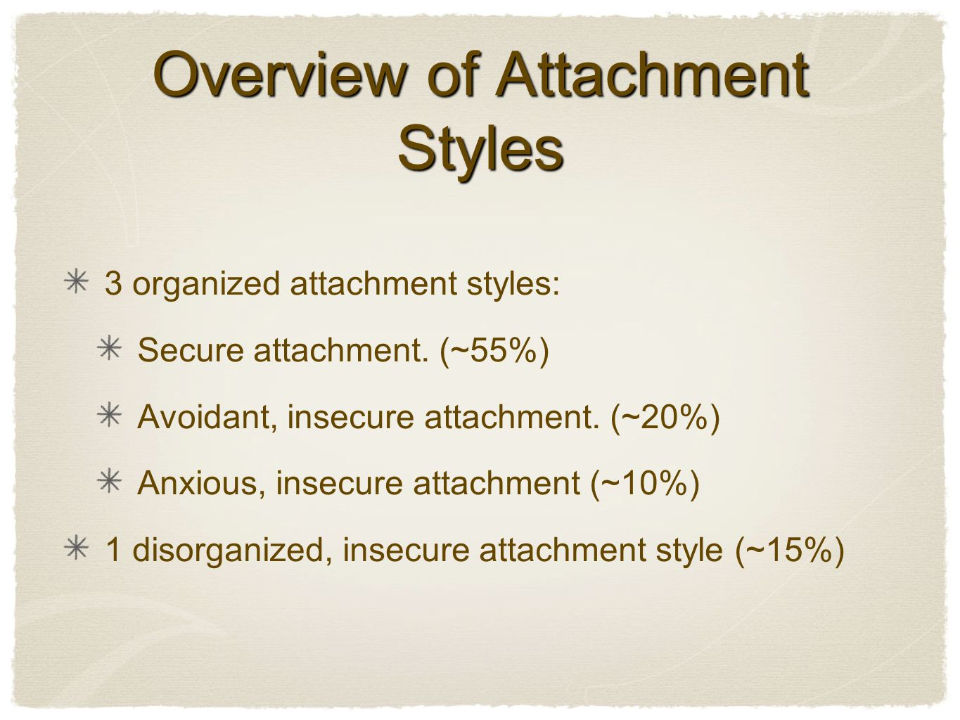 Overview of Attachment Styles 3 organized attachment styles: Secure attachment.