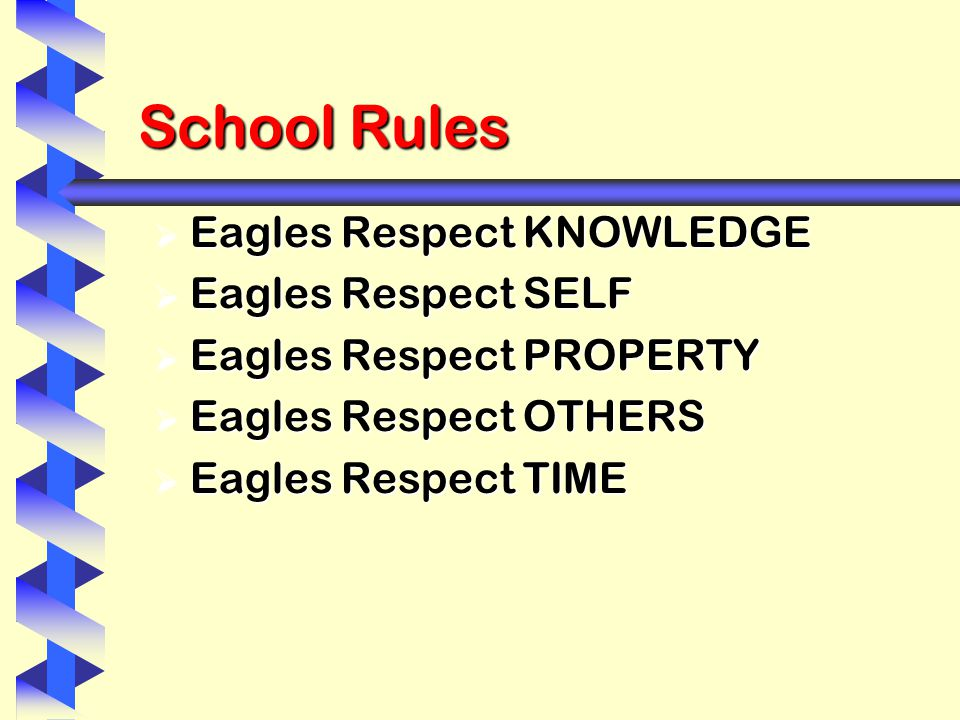 School Rules  Eagles Respect KNOWLEDGE  Eagles Respect SELF  Eagles Respect PROPERTY  Eagles Respect OTHERS  Eagles Respect TIME