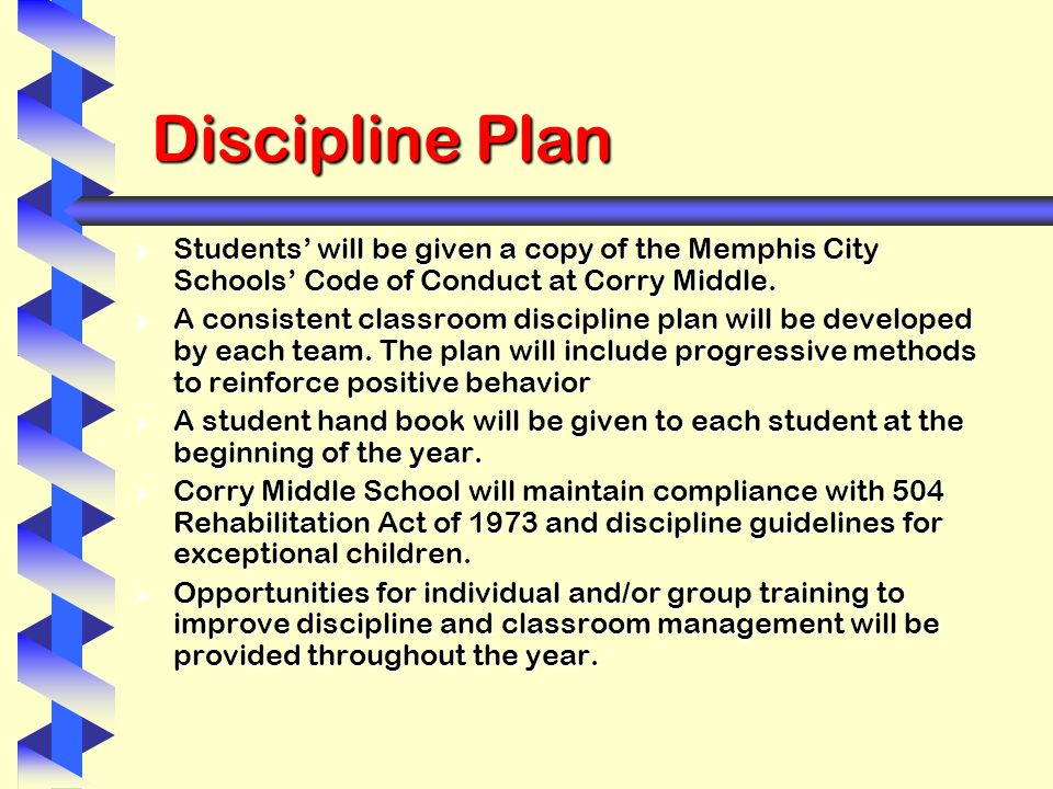 Discipline Plan  Students' will be given a copy of the Memphis City Schools' Code of Conduct at Corry Middle.