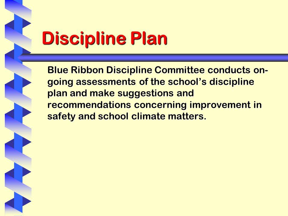 Discipline Plan Blue Ribbon Discipline Committee conducts on- going assessments of the school's discipline plan and make suggestions and recommendations concerning improvement in safety and school climate matters.