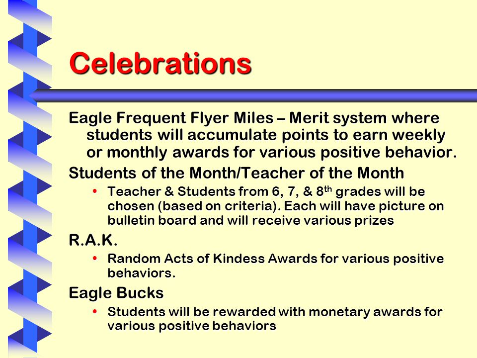 Celebrations Eagle Frequent Flyer Miles – Merit system where students will accumulate points to earn weekly or monthly awards for various positive behavior.