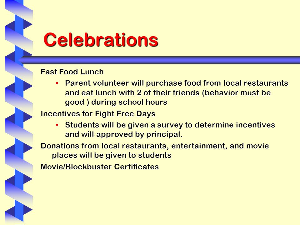 Celebrations Fast Food Lunch Parent volunteer will purchase food from local restaurants and eat lunch with 2 of their friends (behavior must be good ) during school hoursParent volunteer will purchase food from local restaurants and eat lunch with 2 of their friends (behavior must be good ) during school hours Incentives for Fight Free Days Students will be given a survey to determine incentives and will approved by principal.Students will be given a survey to determine incentives and will approved by principal.