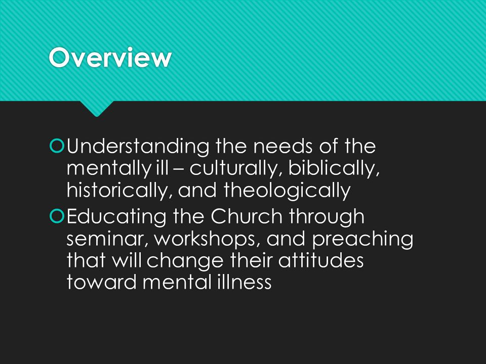 Overview  Understanding the needs of the mentally ill – culturally, biblically, historically, and theologically  Educating the Church through semina