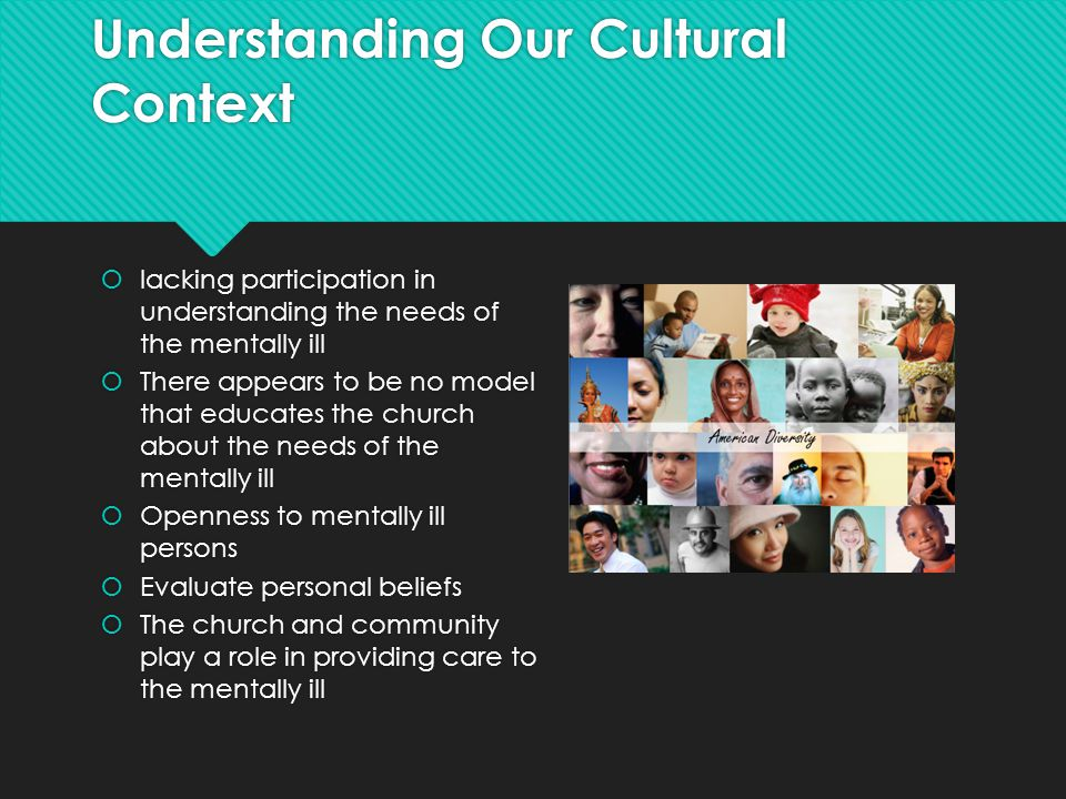 Understanding Our Cultural Context  lacking participation in understanding the needs of the mentally ill  There appears to be no model that educates