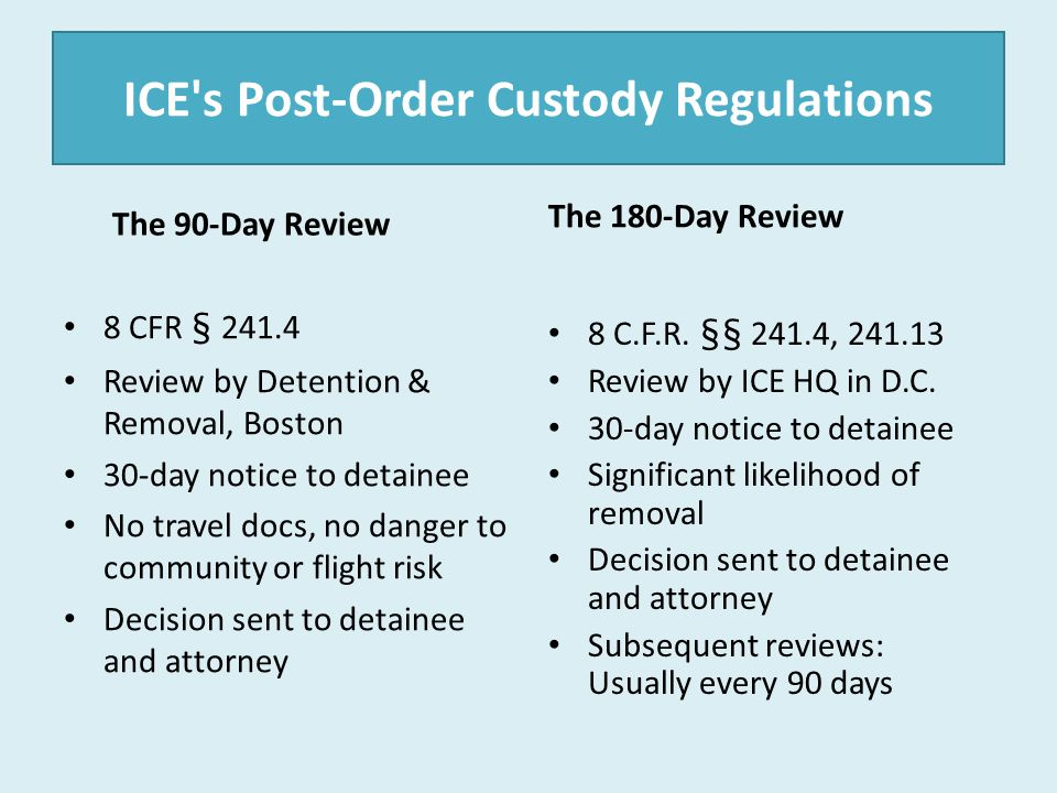 ICE's Post-Order Custody Regulations The 90-Day Review 8 CFR § 241.4 Review by Detention & Removal, Boston 30-day notice to detainee No travel docs, n