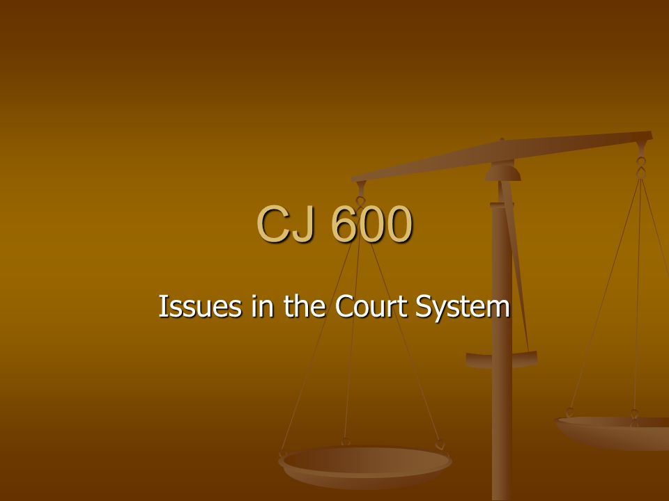 CJ 600 Issues in the Court System