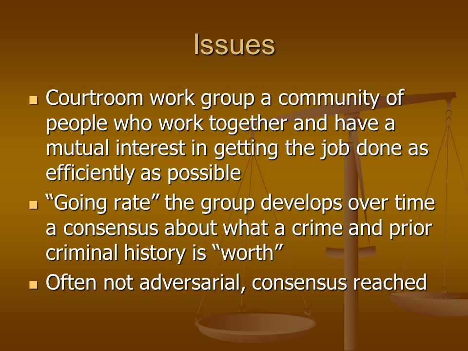 Issues Courtroom work group a community of people who work together and have a mutual interest in getting the job done as efficiently as possible Courtroom work group a community of people who work together and have a mutual interest in getting the job done as efficiently as possible Going rate the group develops over time a consensus about what a crime and prior criminal history is worth Going rate the group develops over time a consensus about what a crime and prior criminal history is worth Often not adversarial, consensus reached Often not adversarial, consensus reached