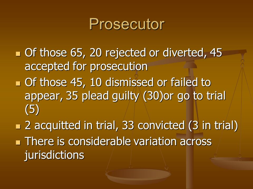 Prosecutor Of those 65, 20 rejected or diverted, 45 accepted for prosecution Of those 65, 20 rejected or diverted, 45 accepted for prosecution Of thos