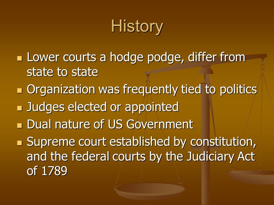 History Lower courts a hodge podge, differ from state to state Lower courts a hodge podge, differ from state to state Organization was frequently tied