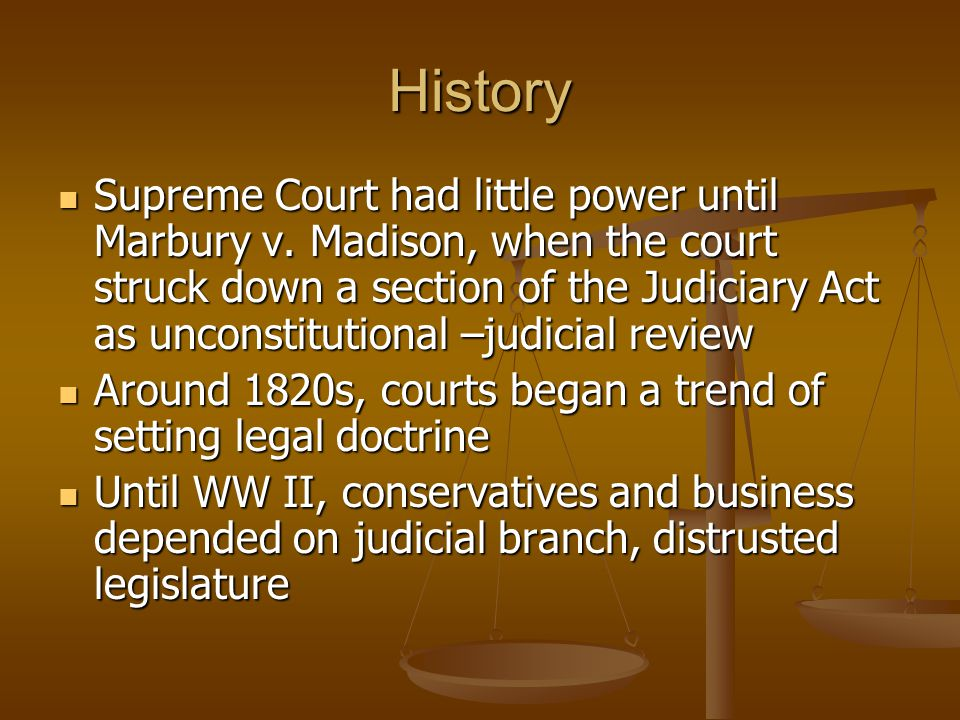 History Supreme Court had little power until Marbury v.