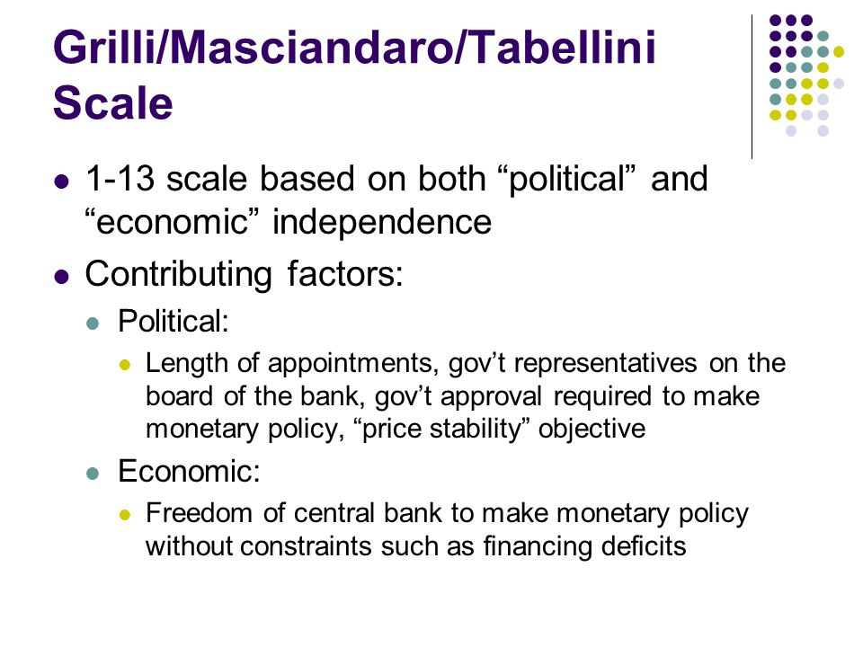 """Grilli/Masciandaro/Tabellini Scale 1-13 scale based on both """"political"""" and """"economic"""" independence Contributing factors: Political: Length of appoint"""