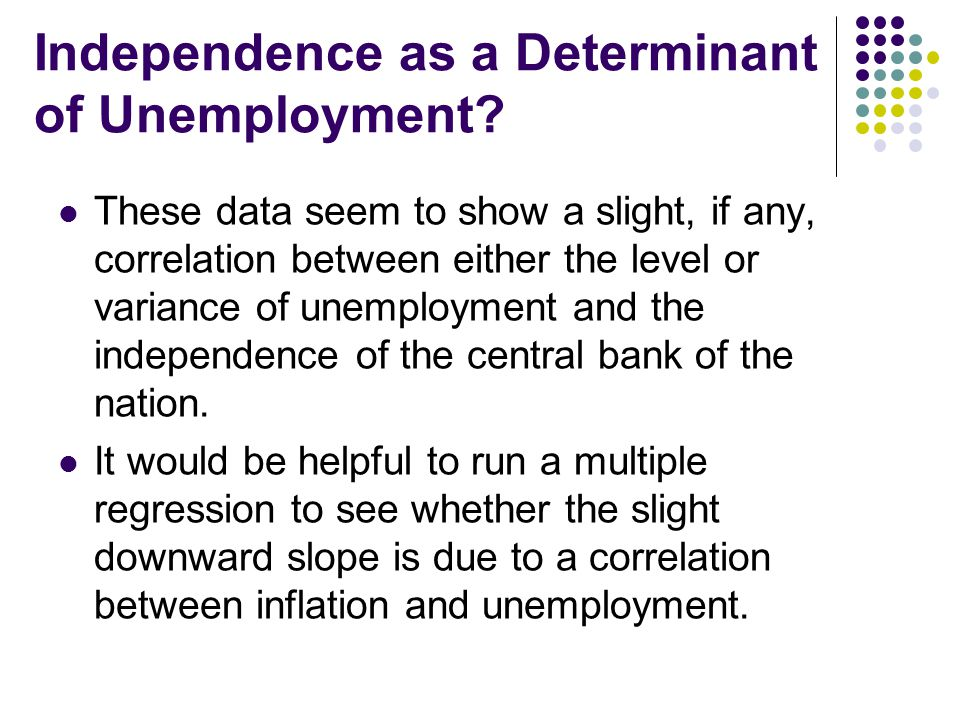 Independence as a Determinant of Unemployment? These data seem to show a slight, if any, correlation between either the level or variance of unemploym