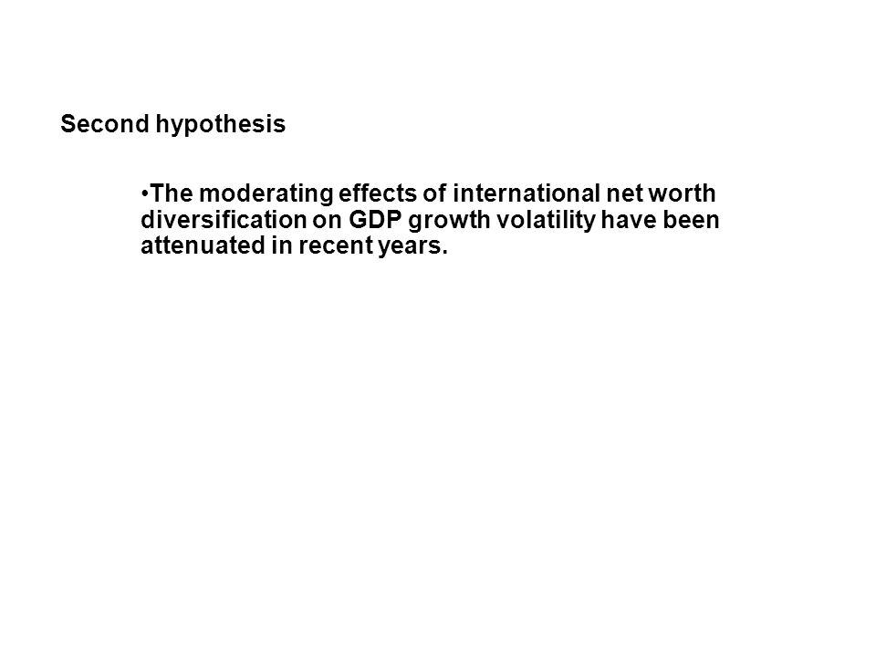 Second hypothesis The moderating effects of international net worth diversification on GDP growth volatility have been attenuated in recent years.