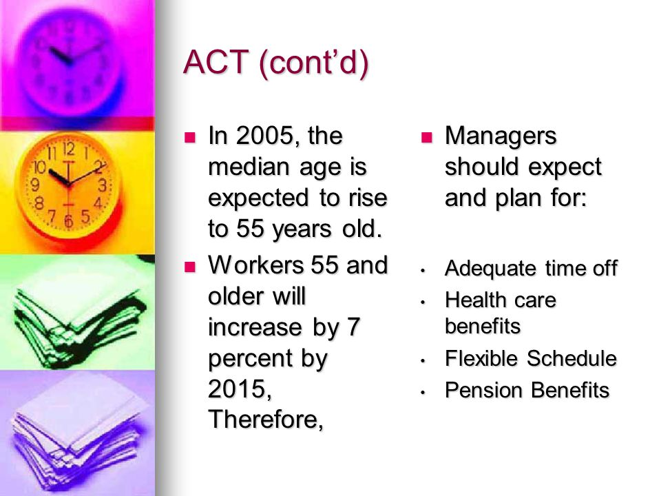 ACT (cont'd) In 2005, the median age is expected to rise to 55 years old.