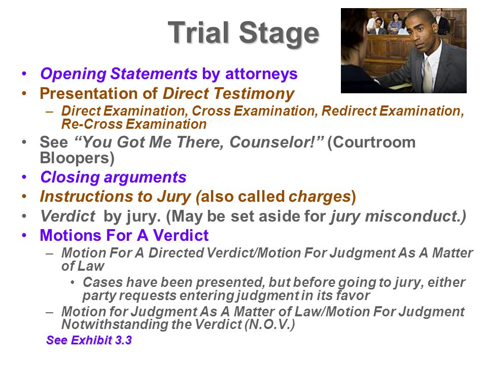 Trial Stage Opening Statements by attorneys Presentation of Direct Testimony –Direct Examination, Cross Examination, Redirect Examination, Re-Cross Ex