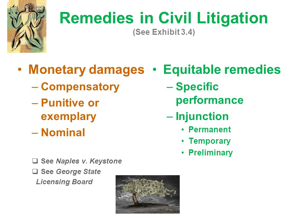 Remedies in Civil Litigation (See Exhibit 3.4) Equitable remedies –Specific performance –Injunction Permanent Temporary Preliminary Monetary damages –