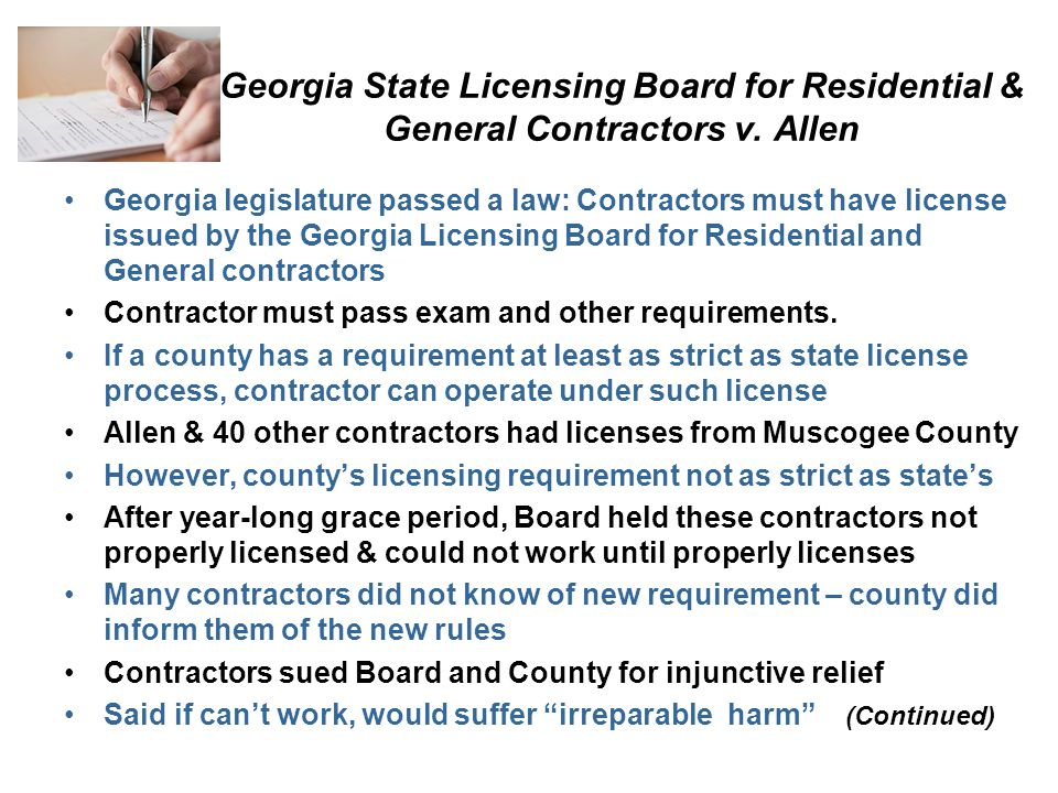 Georgia State Licensing Board for Residential & General Contractors v.