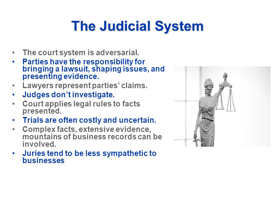 The Judicial System The court system is adversarial. Parties have the responsibility for bringing a lawsuit, shaping issues, and presenting evidence.