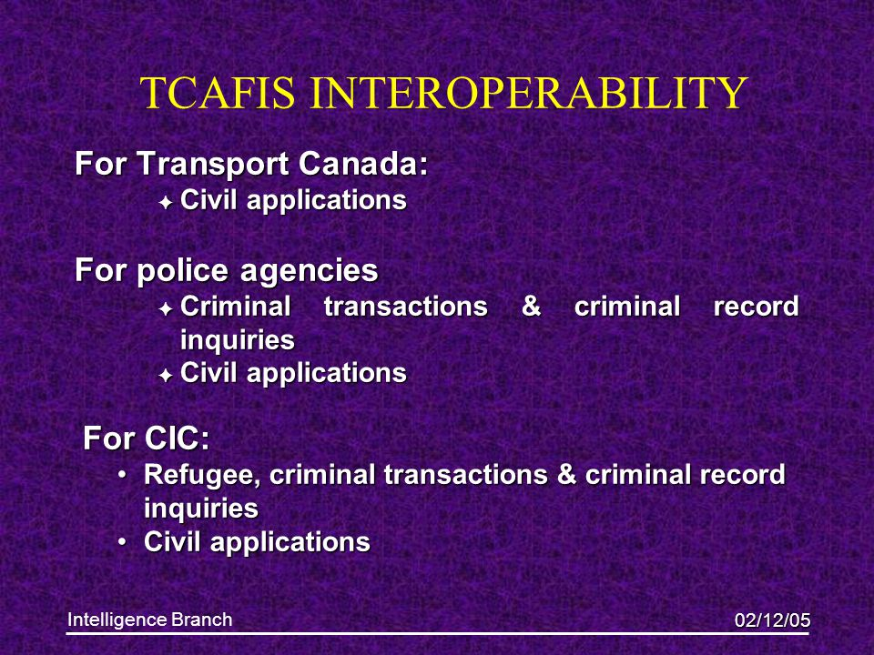 02/12/05 Intelligence Branch TCAFIS INTEROPERABILITY For Transport Canada:  Civil applications For police agencies  Criminal transactions & criminal