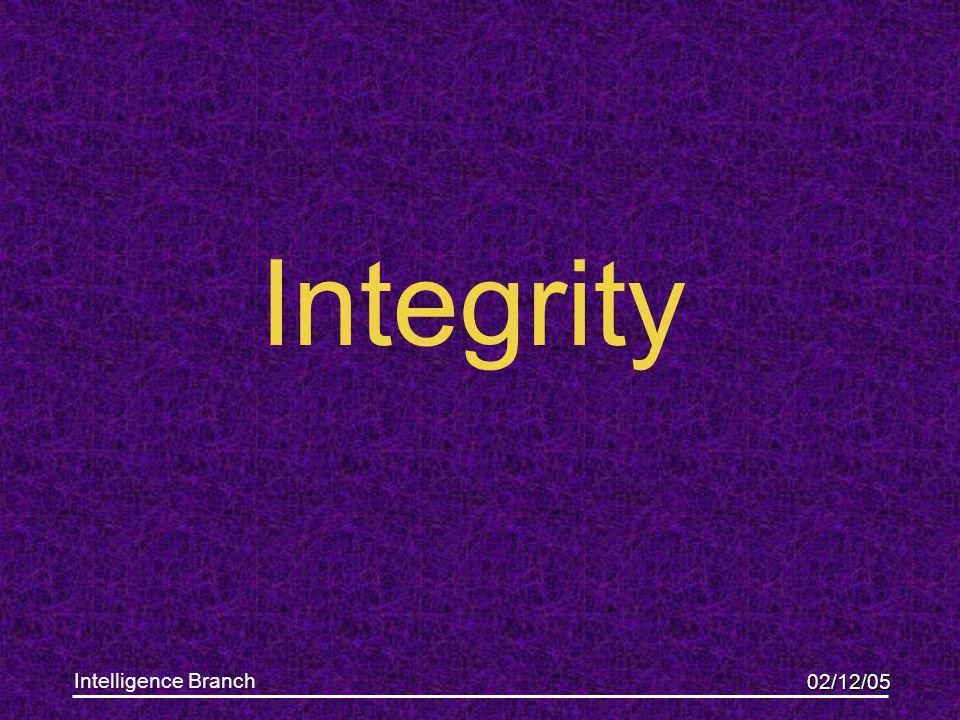 02/12/05 Intelligence Branch Integrity