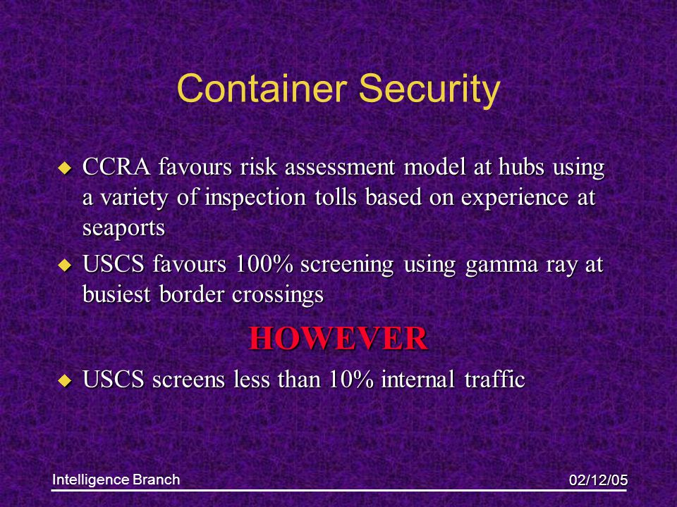 02/12/05 Intelligence Branch Container Security u CCRA favours risk assessment model at hubs using a variety of inspection tolls based on experience a