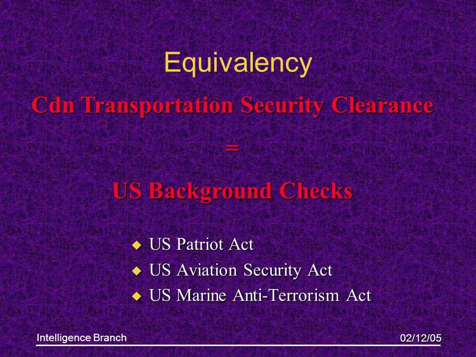 02/12/05 Intelligence Branch Equivalency u US Patriot Act u US Aviation Security Act u US Marine Anti-Terrorism Act Cdn Transportation Security Clearance = US Background Checks