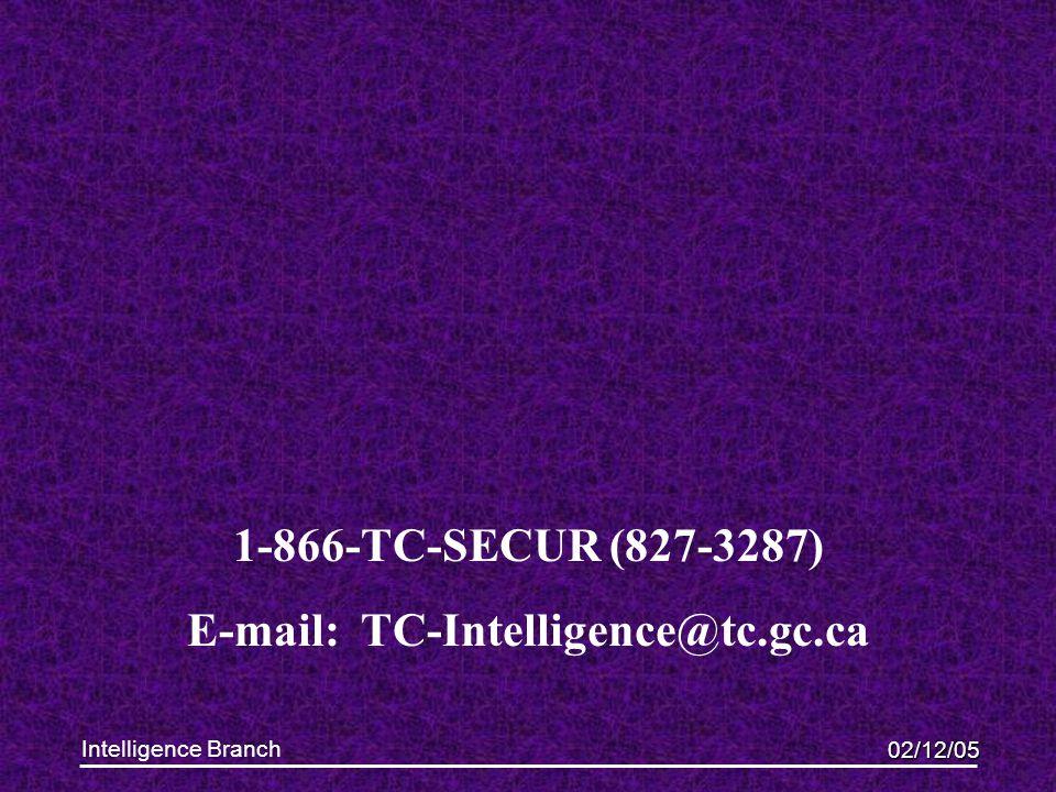 02/12/05 Intelligence Branch 1-866-TC-SECUR (827-3287) E-mail: TC-Intelligence@tc.gc.ca