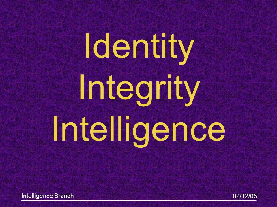 02/12/05 Intelligence Branch Identity Integrity Intelligence