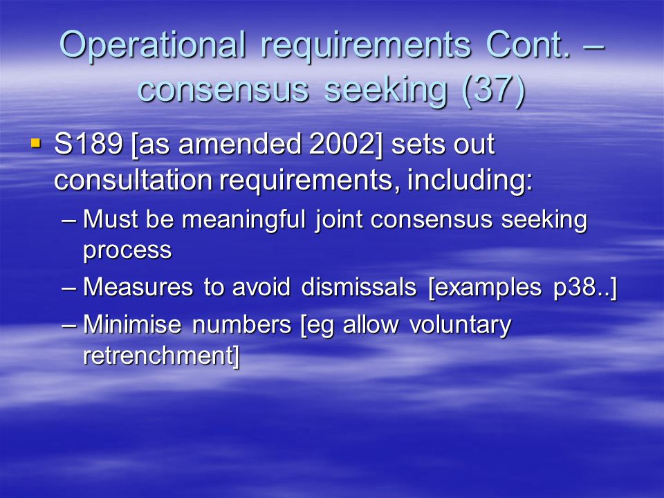 Operational requirements Cont.