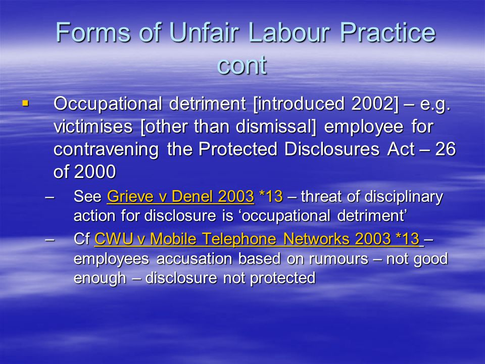 197 cont  Old employer to disclose the terms to the employees affected  For 12 months after transfer the old employer is jointly liable with new employer for leave, severance or other payments due if payment is due as a result of employees dismissal for operational requirements or employers liquidation – unless old employer shows it complied with the section