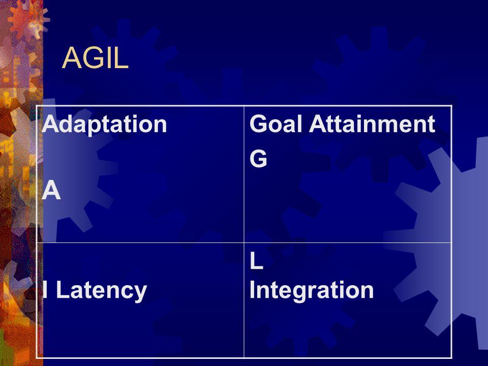 AGIL Adaptation A Goal Attainment G I Latency L Integration