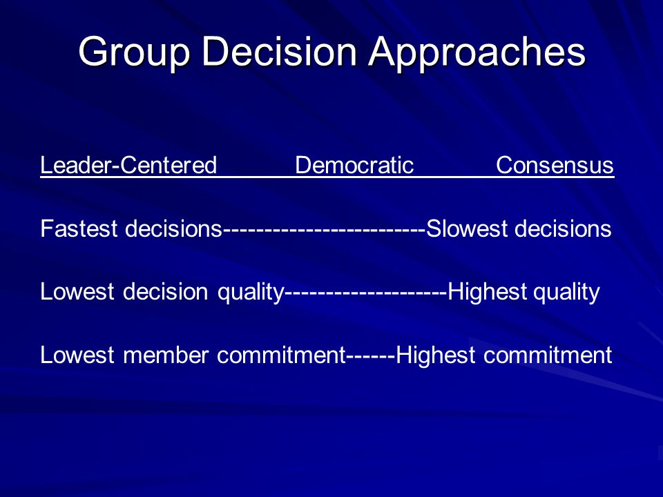 Group Decision Approaches Leader-Centered Democratic Consensus Fastest decisions-------------------------Slowest decisions Lowest decision quality--------------------Highest quality Lowest member commitment------Highest commitment