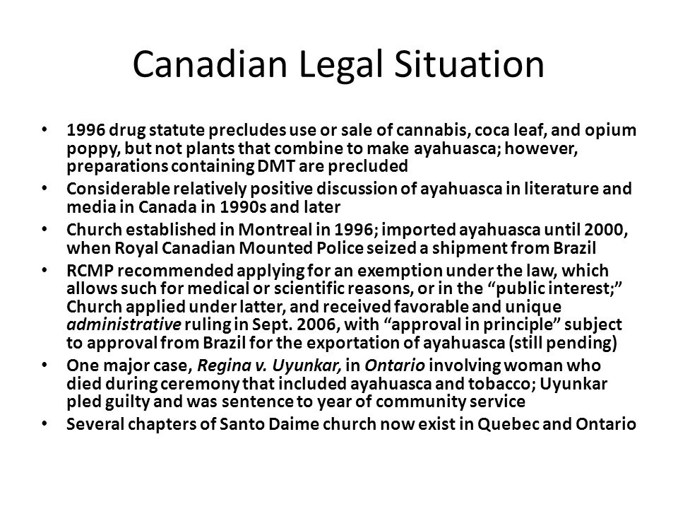Canadian Legal Situation 1996 drug statute precludes use or sale of cannabis, coca leaf, and opium poppy, but not plants that combine to make ayahuasca; however, preparations containing DMT are precluded Considerable relatively positive discussion of ayahuasca in literature and media in Canada in 1990s and later Church established in Montreal in 1996; imported ayahuasca until 2000, when Royal Canadian Mounted Police seized a shipment from Brazil RCMP recommended applying for an exemption under the law, which allows such for medical or scientific reasons, or in the public interest; Church applied under latter, and received favorable and unique administrative ruling in Sept.