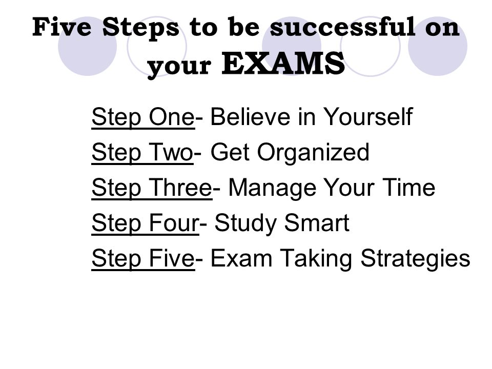 Five Steps to be successful on your EXAMS Step One- Believe in Yourself Step Two- Get Organized Step Three- Manage Your Time Step Four- Study Smart St