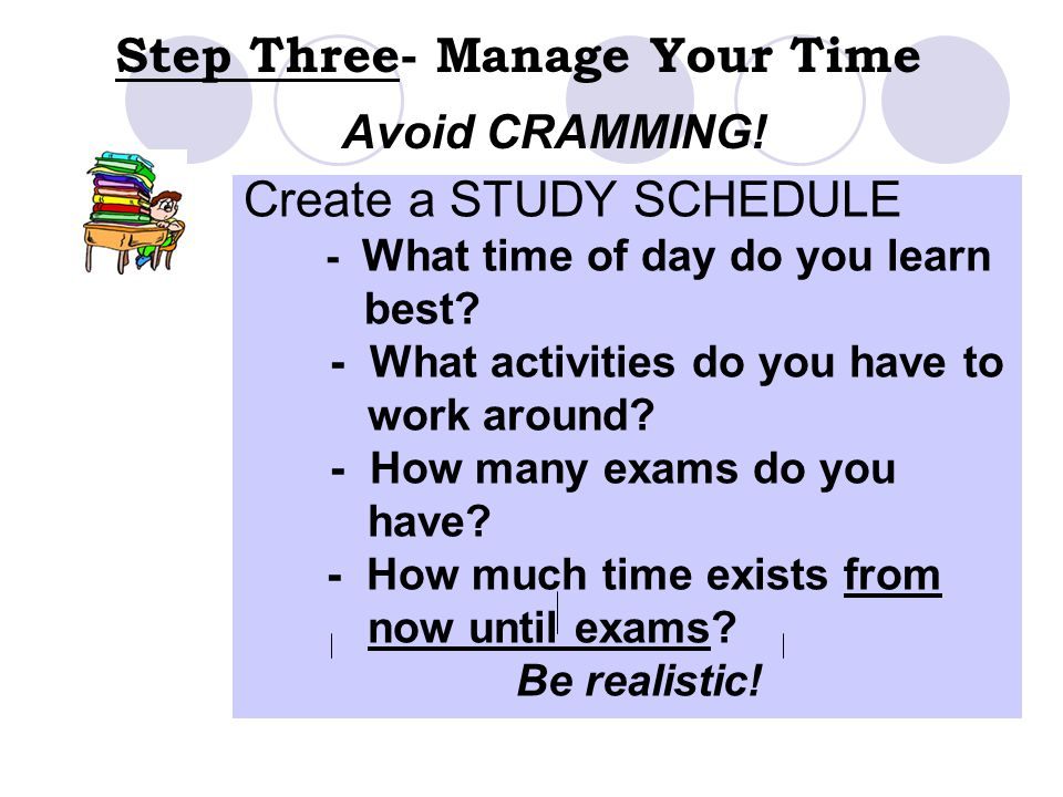 Step Three- Manage Your Time Create a STUDY SCHEDULE - What time of day do you learn best? - What activities do you have to work around? - How many ex