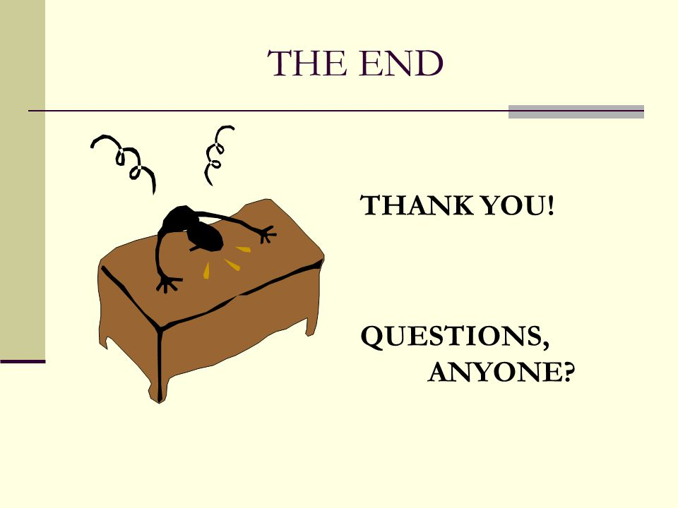 THE END THANK YOU! QUESTIONS, ANYONE?
