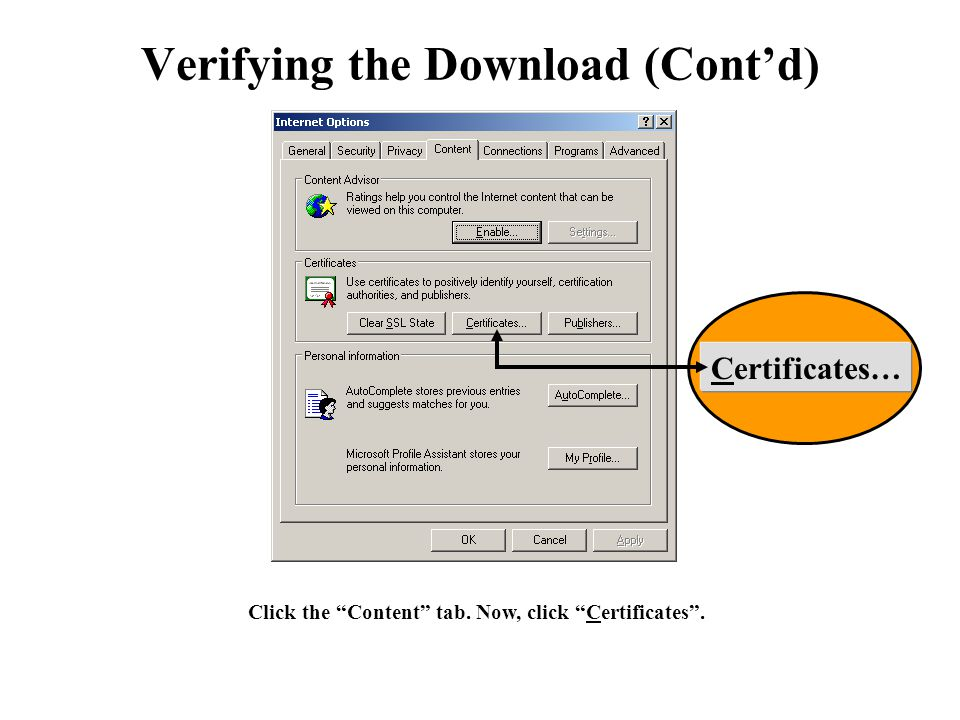 "Click the ""Content"" tab. Now, click ""Certificates"". Verifying the Download (Cont'd) Certificates…"