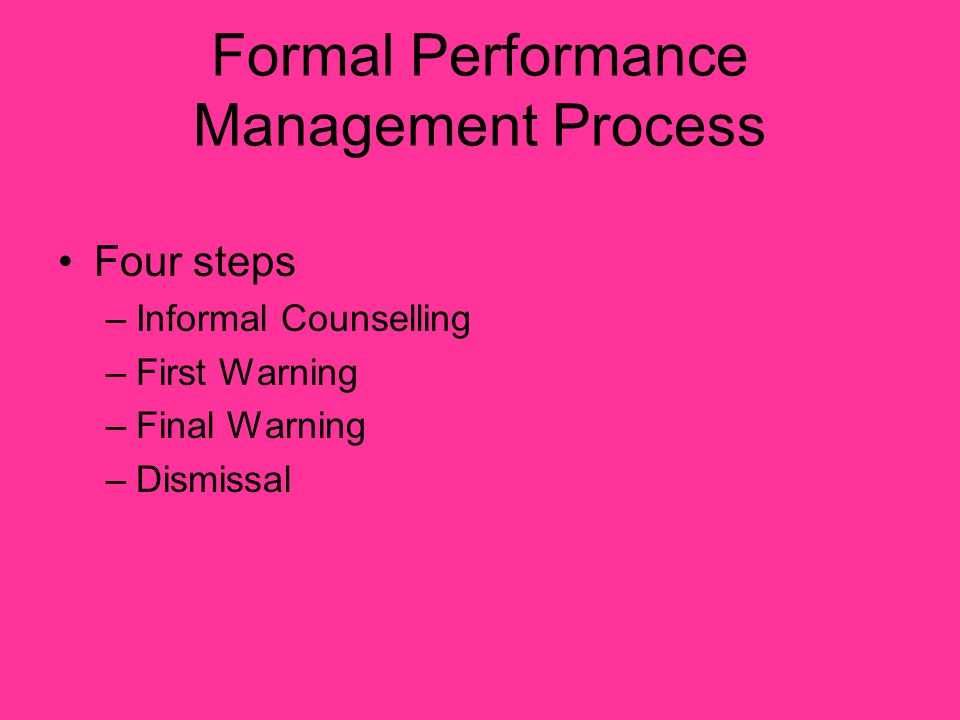Informal Counselling Advise employee of shortfall in their performance Clarify expectations Explore what assistance the employee needs Confirm discussion in writing