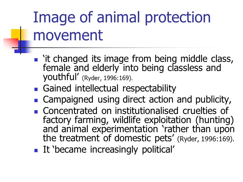 Image of animal protection movement 'it changed its image from being middle class, female and elderly into being classless and youthful' (Ryder, 1996:169).