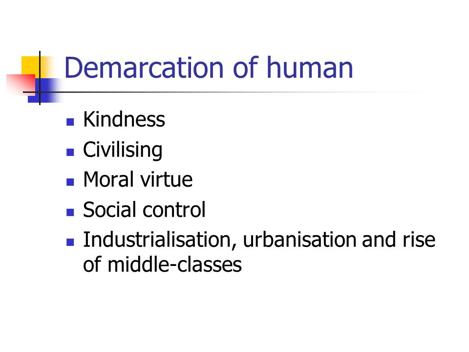 Demarcation of human Kindness Civilising Moral virtue Social control Industrialisation, urbanisation and rise of middle-classes