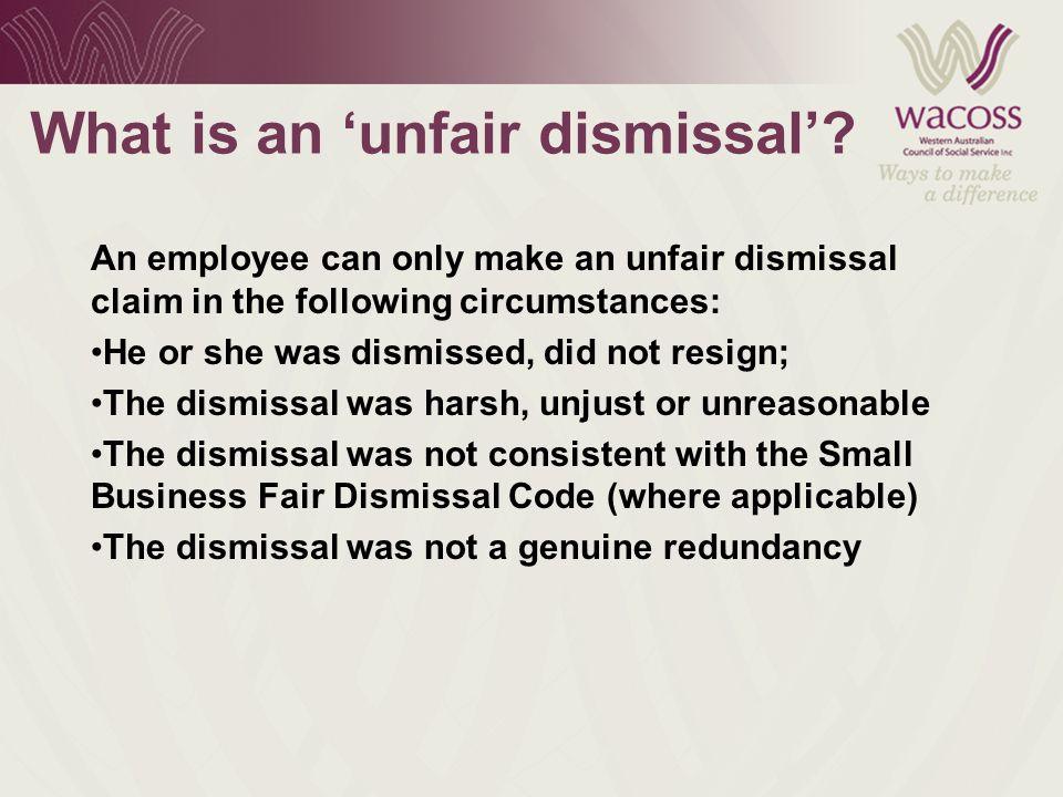 What is an 'unfair dismissal'.
