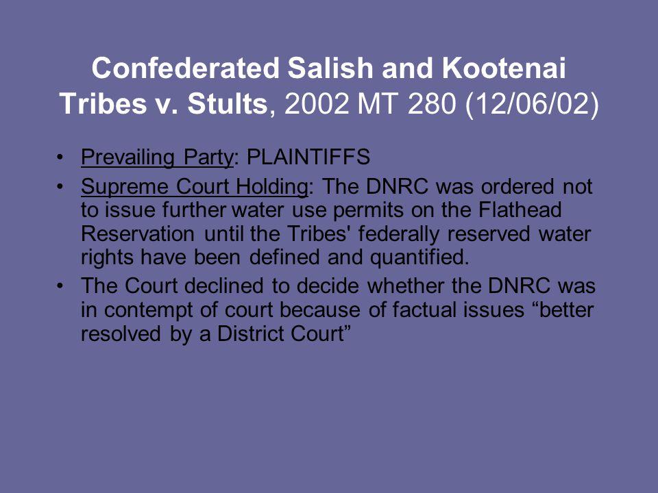 Confederated Salish and Kootenai Tribes v.