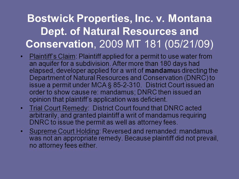 Bostwick Properties, Inc. v. Montana Dept.