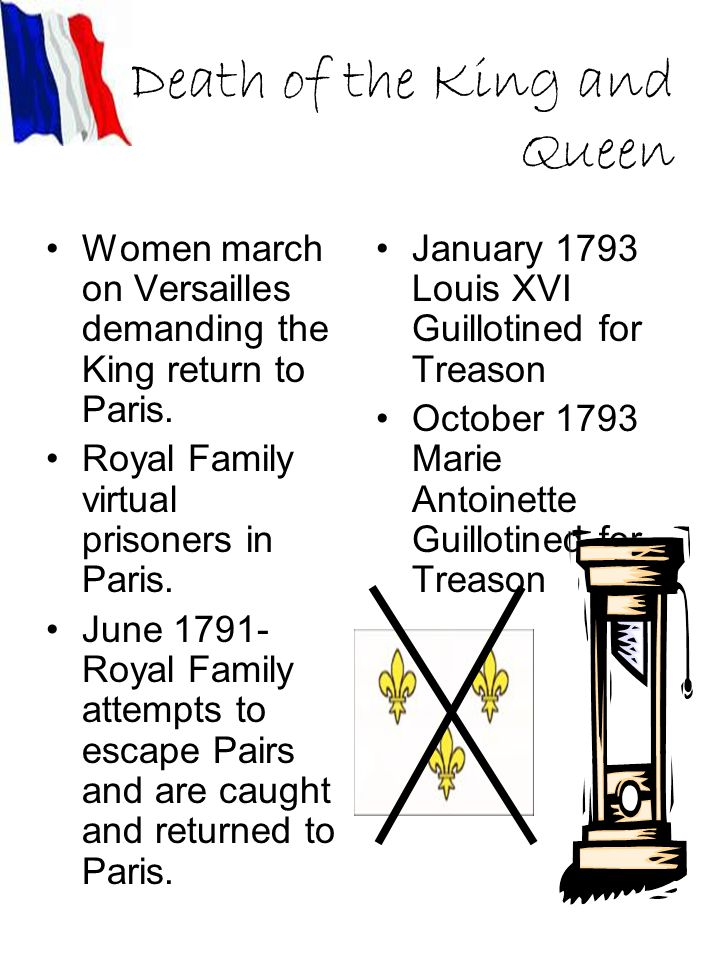 Death of the King and Queen Women march on Versailles demanding the King return to Paris.